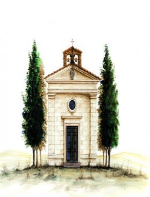 <div>Vitaleta Chapel, Val d&#39;Orcia, Tuscany</div>