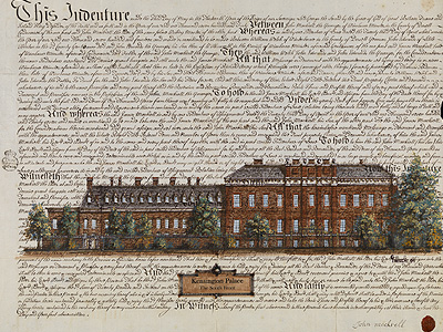 Kensington Palace South Front<br/>Gordon French<br/>Acrylic & Ink on Antique Indenture