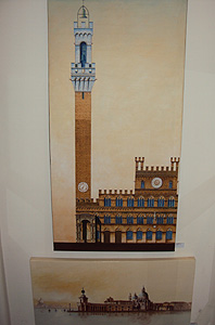 Palazzo Pubblico, Siena <br/>Gordon French<br/>Acrylic & Ink on Canvas