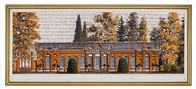 The Orangery, Kensington Gardens<br/>Gordon French<br/>Acrylic & Ink on Antique Indenture