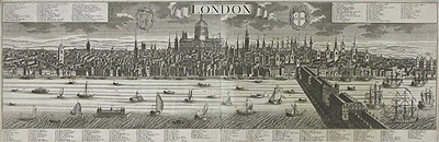 18<sup>th</sup> century view of London<br /> Hand-coloured reproduction engraving<br /> Sourced in Italy<br /> Framed &pound;225<br /> Unframed &pound;95