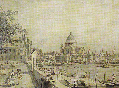 View from Somerset Gardens looking towards London Bridge [detail]<br /> Canaletto<br /> Print<br /> Framed &pound;75
